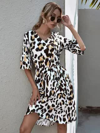 WOMEN All Over Print Flounce Sleeve Dress