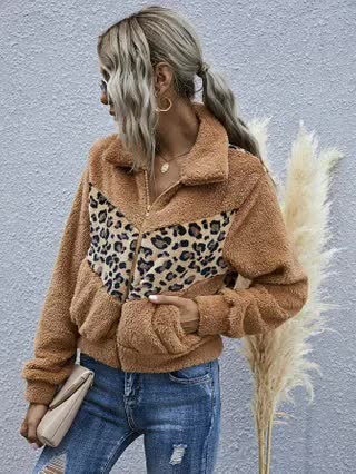 WOMEN Contrast Leopard Zip-up Teddy Jacket