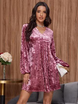 WOMEN V-neck Lantern Sleeve Velvet Smock Dress