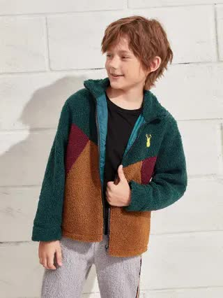 KIDS Boys Deer Embroidery Teddy Coat
