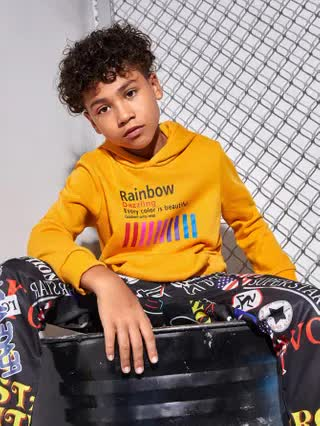 KIDS Boys Letter Graphic Pocket Front Hoodie