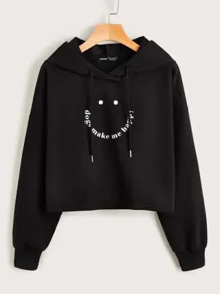 WOMEN Slogan Graphic Drop Shoulder Hoodie