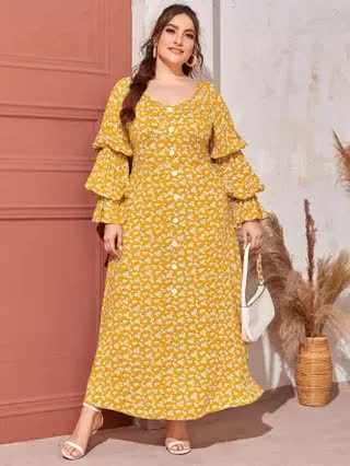 WOMEN Plus Button Front Gathered Lantern Sleeve Ditsy Floral Maxi Dress