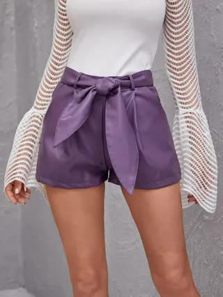 WOMEN Slant Pocket Belted PU Leather Shorts