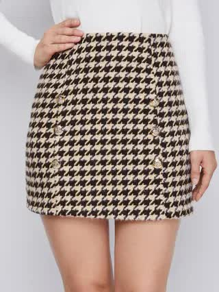 WOMEN Double Button Houndstooth Tweed Skirt