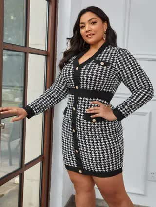 WOMEN Plus Houndstooth Button Front Bodycon Dress