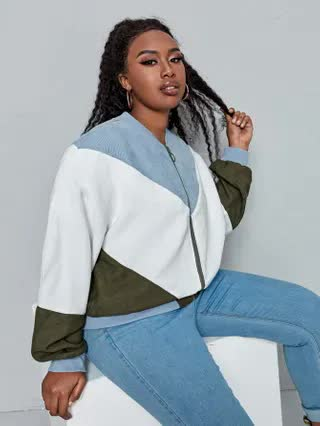 WOMEN Plus Zip Up Color Block Cord Bomber Jacket
