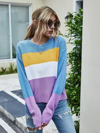 WOMEN Cut And Sew Rib-knit Neck Drop Shoulder Sweater