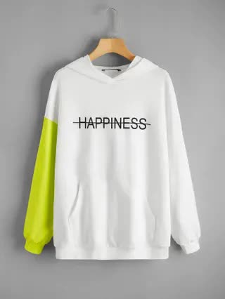 WOMEN Drop Shoulder Letter Graphic Colorblock Hoodie