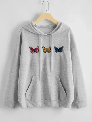 WOMEN Plus Butterfly Embroidered Drop Shoulder Hoodie