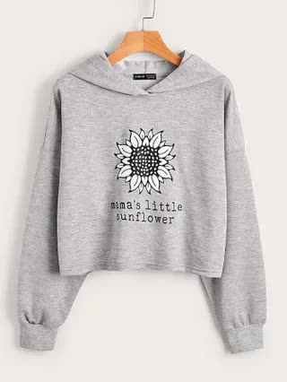 WOMEN Sunflower & Slogan Graphic Drop Shoulder Hoodie
