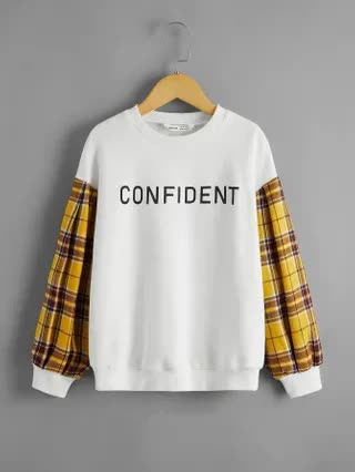 KIDS Girls Plaid Sleeve Letter Graphic Pullover