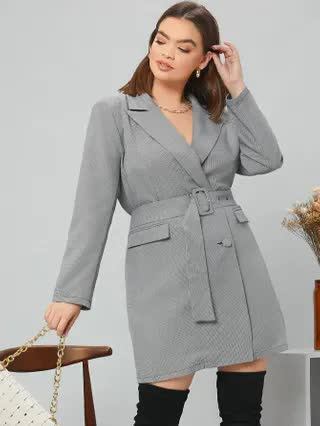 WOMEN Plus Notch Collar Flap Pocket Front Buckle Belted Blazer Dress