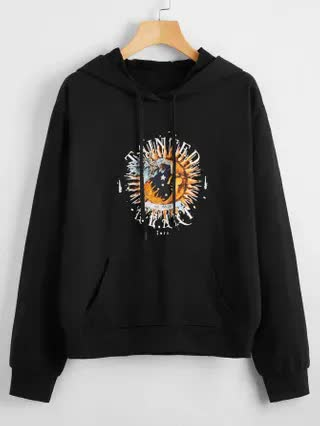 WOMEN Moon And Letter Graphic Hoodie
