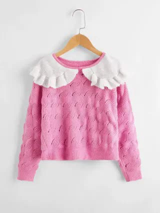 KIDS Girls Color Block Ruffle Trim Cable Knit Sweater