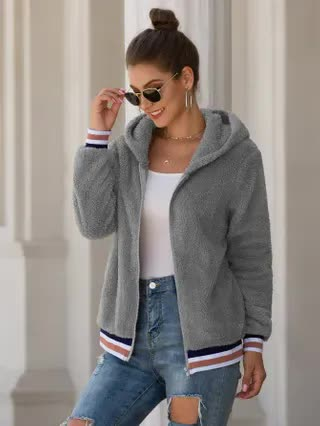 WOMEN Contrast Striped Zip Up Teddy Jacket