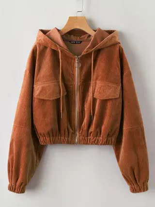WOMEN Plus Fake Pocket Zip Up Hooded Corduroy Jacket