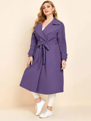 WOMEN Plus Lapel Neck Double Breasted Belted Trench Coat