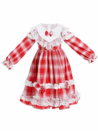 KIDS Girls Plaid Contrast Lace Bow Front Frill A-line Dress