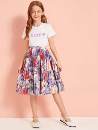 KIDS Girls Letter Graphic Top & Pleated Floral Skirt Set