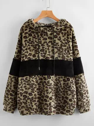 WOMEN Leopard Print Color Block Teddy Hoodie