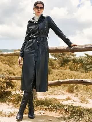 WOMEN Pocket Front Button Up Belted PU Leather Coat