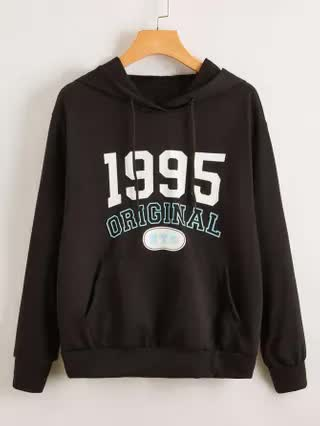 WOMEN Letter and Number Print Pocket Front Hoodie