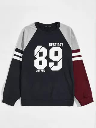 MEN Men Number & Letter Graphic Color Block Sweatshirt