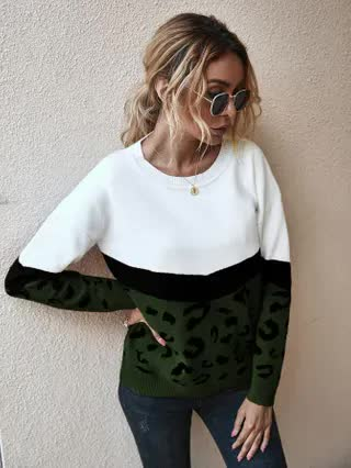 WOMEN Contrast Graphic Color Block Sweater