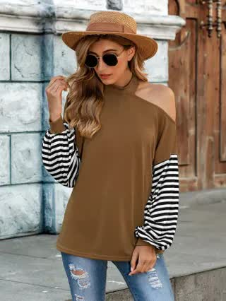 WOMEN Contrast Striped Sleeve Cut Out Tee