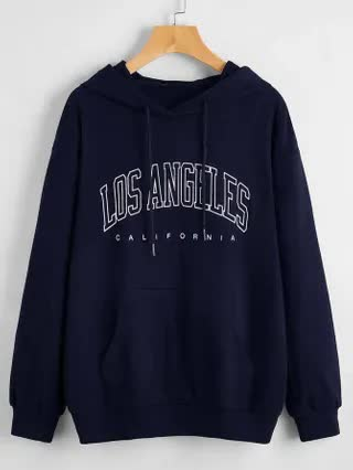WOMEN Letter Graphic Drop Shoulder Hoodie