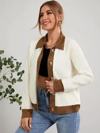 WOMEN Contrast Panel Button Up Teddy Jacket