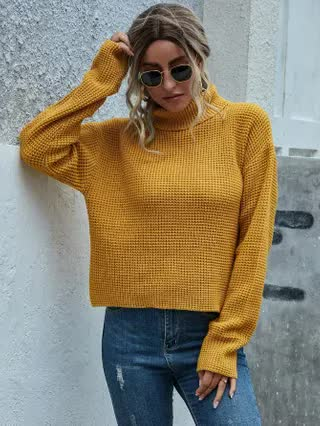 WOMEN Turtleneck Waffle Knit Solid Sweater
