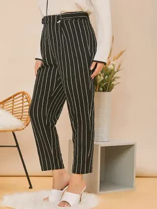WOMEN Plus Striped Belted Cropped Trousers
