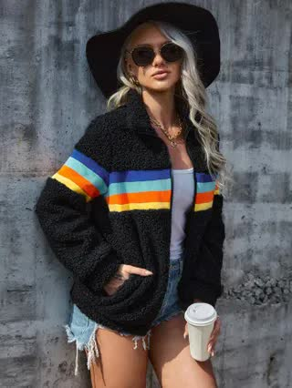 WOMEN Zip Up Contrast Striped Teddy Jacket