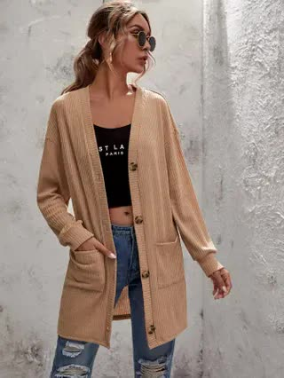 WOMEN Solid Dual Pocket Button Up Coat