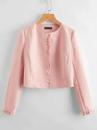 WOMEN Frill Trim Solid Open Front Jacket