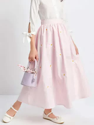 KIDS Girls Daisy Floral Embroidered Skirt