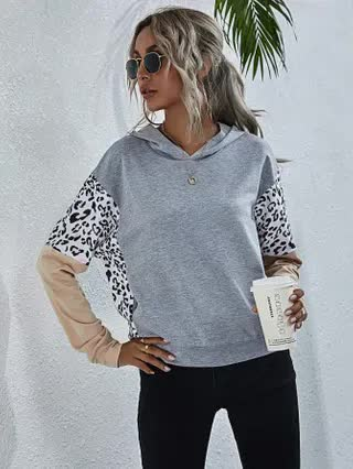 WOMEN Leopard Print Color Block Hoodie