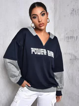 WOMEN Half Zip Drop Shoulder Colorblock Letter Graphic Oversized Hoodie