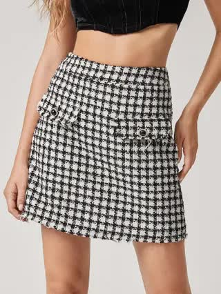 WOMEN Flap Front Plaid Tweed Skirt