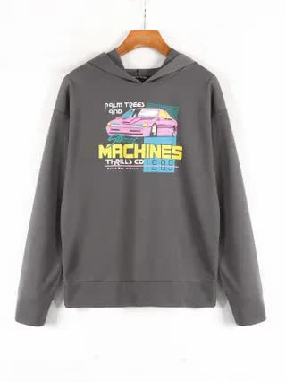 WOMEN Car & Letter Graphic Hoodie
