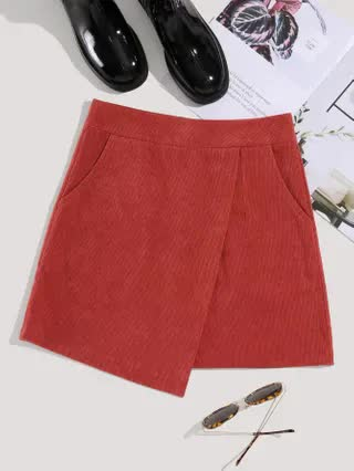 WOMEN Zipper Back Wrap Corduroy Mini Skirt
