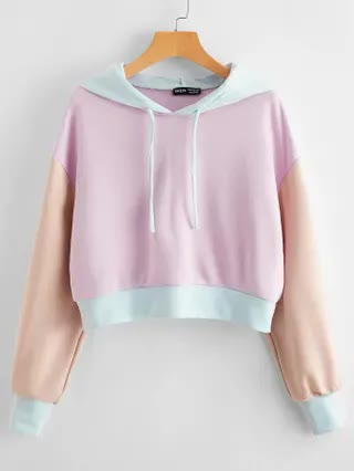 WOMEN Drop Shoulder Color Block Hoodie