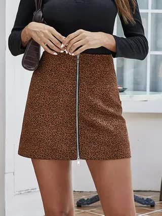WOMEN Leopard Print Zip-up Mini Skirt