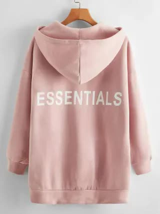 WOMEN Drop Shoulder Letter Graphic Patch Pocket Hoodie