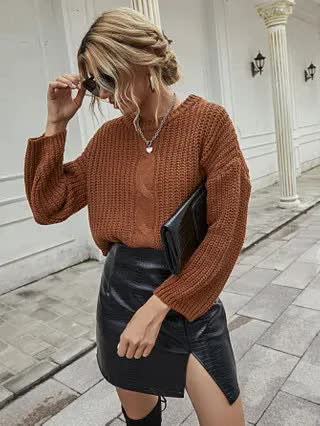 WOMEN Solid Chunky Knit Drop Shoulder Sweater