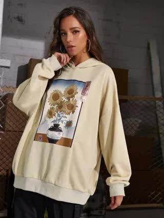 WOMEN Japanese Letter & Floral Graphic Oversized Hoodie