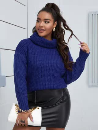 WOMEN Plus High Neck Ribbed Knit Sweater