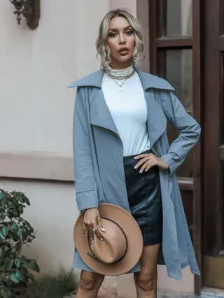 WOMEN Lapel Collar Belted Trench Coat